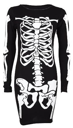 a113c082ede7 Top Fashion Ladies Halloween Skeleton Bodycon dress Celeb Inspired Bones  Bodysuit Plus Size 8-22