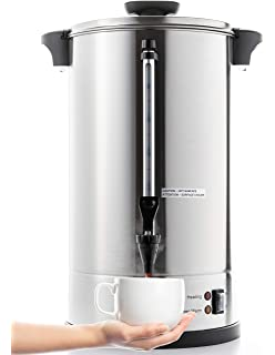 Silver West Bend 57042 Stainless Steel Commercial Grade Coffee Urn Large Capacity Double Walled and Fast Brewing 42-Cup