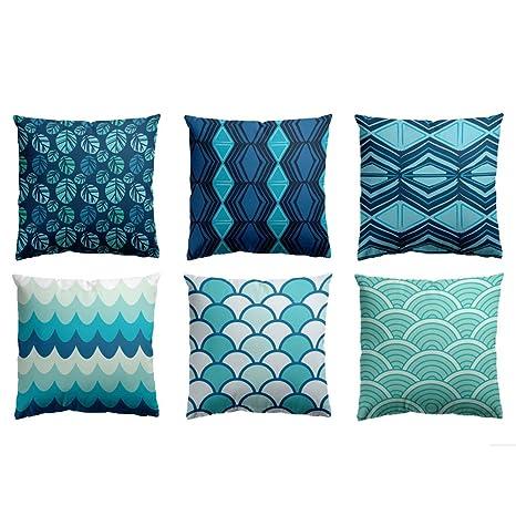 Como Hacer Fundas Para Cojines De Sofa.Fabthing Hogar 6 Cojines Lona Geometrico Decorativa Almohadas Fundas Para Sofa Cama Sala 45x45cm Azul