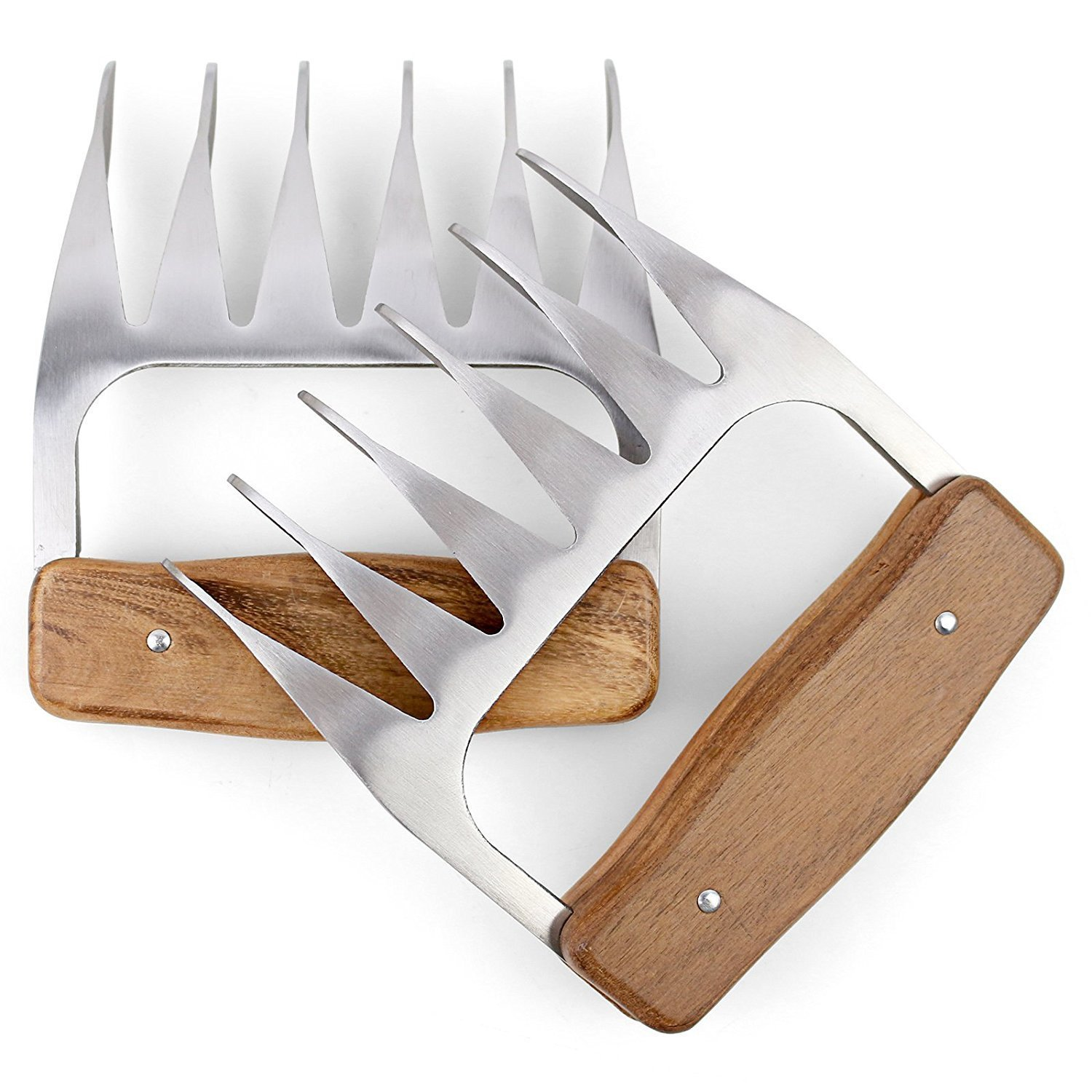 Metal Meat Claws, 1Easylife 18/8 Stainless Steel Meat Forks with Wooden Handle, Best Meat Claws for Shredding, Pulling, Handing, Lifting & Serving Pork, Turkey, Chicken, Brisket (2 Pcs,BPA Free) by 1Easylife (Image #8)