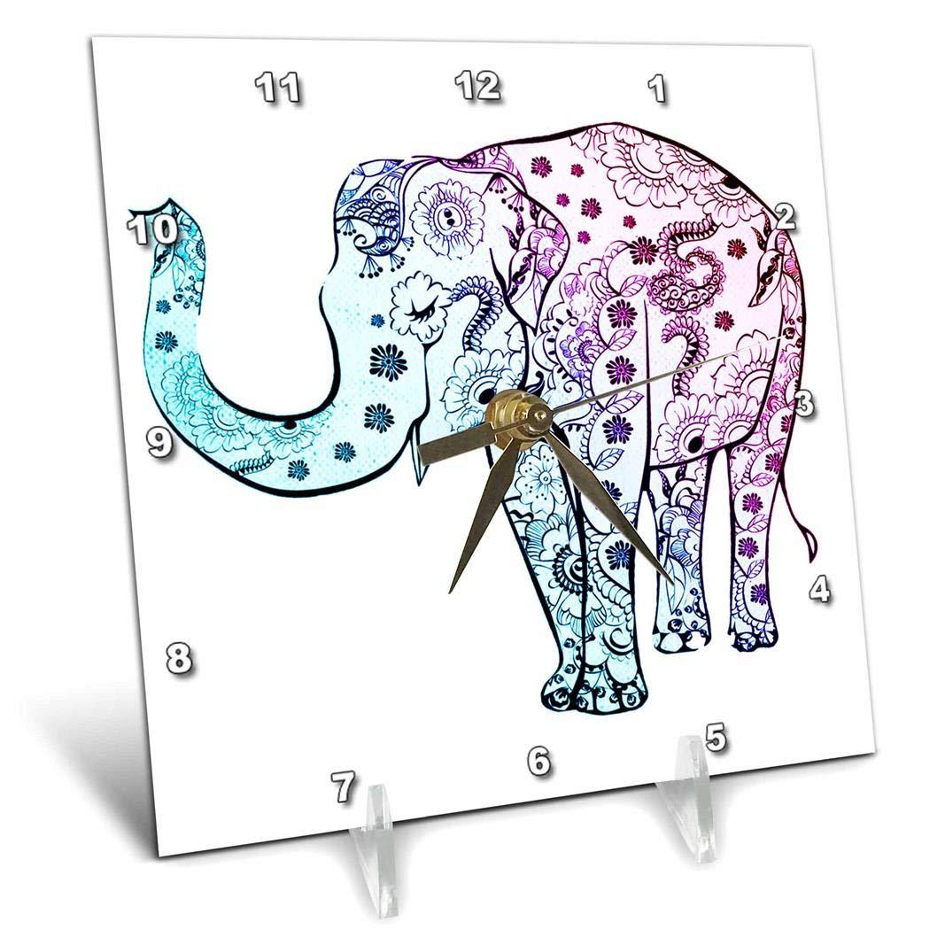 3dRose Blue and Purple Elephant On White Background Desk Clock 6 x 6
