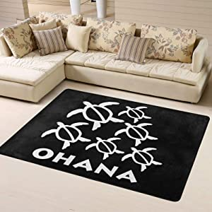 Wolfdinner Ohana Honu Hawaiian Sea Turtle Super Soft Personalized Home Rugs Decoration Indoor Anti-Slip Kids Playroom Carpets 63x48 Inches