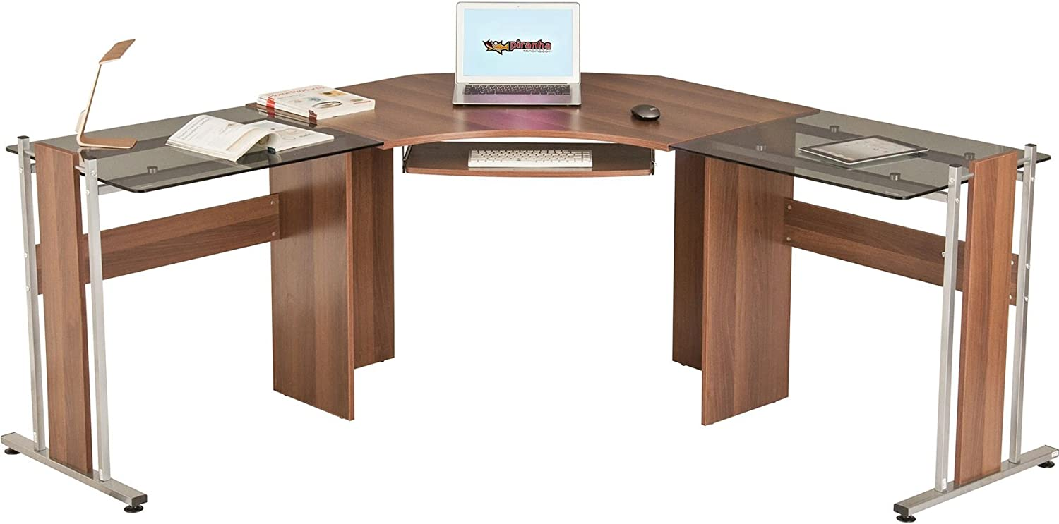 Large Corner Computer Desk Office Table with Glass Wings for Home