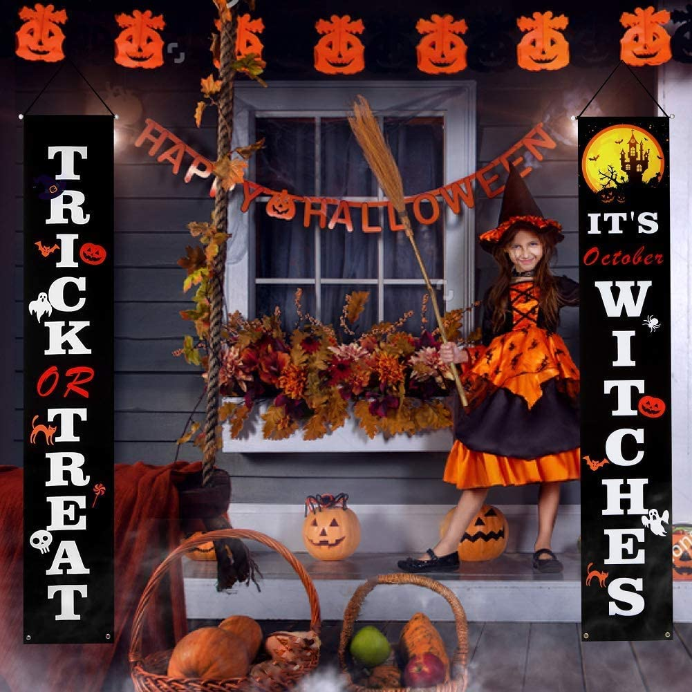 Aitsite Halloween Decoration Banner, Halloween Outdoor Banner Set with Trick or Treat & It's October Witches Signs for Front Door, Porch, Indoor, Home Decor - 2 PCS