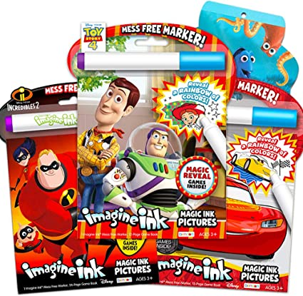 Amazon.com: Imagine Ink Coloring Book Set Bundle ~ 3 Mess Free Coloring  Books For Kids Featuring Toy Story, Minions, Angry Birds With Invisible  Pens And Stickers: Toys & Games