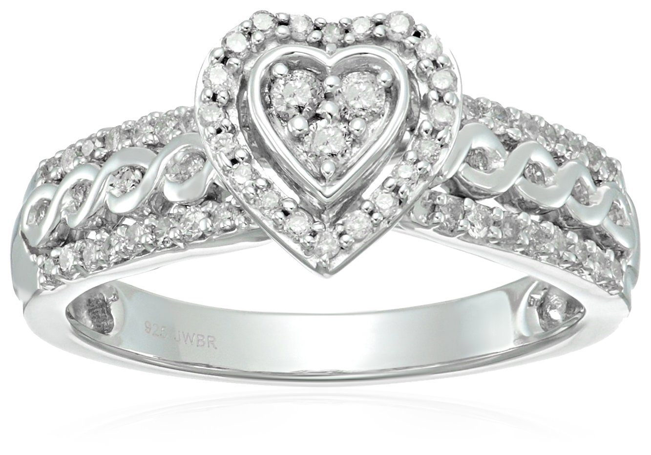 Sterling Silver Diamond Heart Shape Bridal Ring (1/2 cttw), Size 7