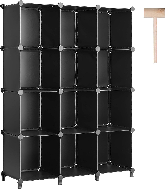 Puroma Cube Storage Organizer 12-Cube Closet Storage Shelves with Wooden Hammer DIY Closet Cabinet Bookshelf Plastic Square Organizer Shelving for Home, Office, Bedroom - Black