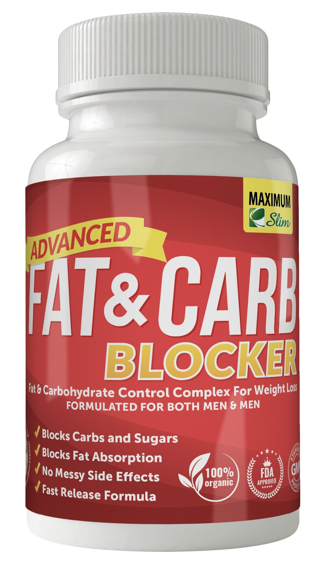 Maximum Slim Fat & Carb Blocker Pure Kidney Bean Extract for Weight Loss and Appetite Suppressant, 1600mg Per Serving. Recently Featured on TV by Maximum Slim