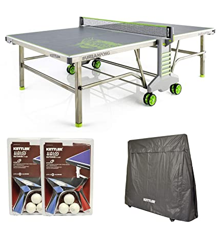 Kettler Urban Pong Outdoor Table Tennis Table w Outdoor Accessory Bundle
