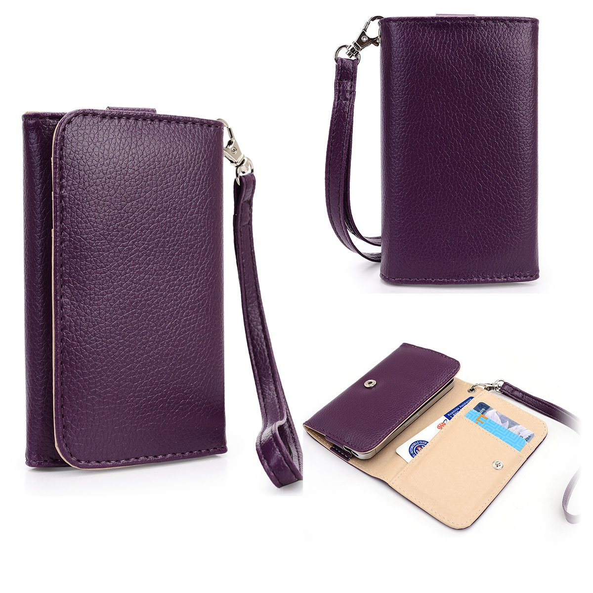Purple EXXIST Universal Smartphone Wallet Wristlet with Card Holders fits Samsung Galaxy Young 2
