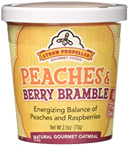 Straw Propeller Gourmet Foods Natural Gourmet Oatmeal, Peaches and Berry Bramble, 2.5 Ounce (Pack of 12)
