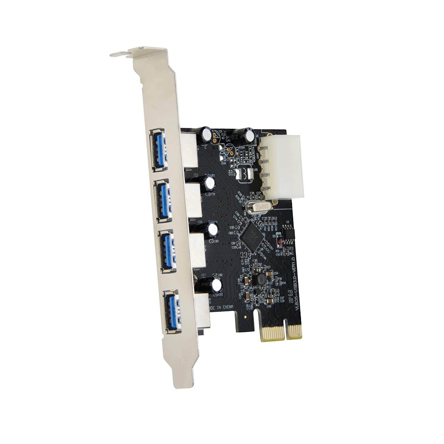 Green Adwits PCIe 1x to USB 3.1 Gen 1 Type A Port x2 and 20-pin Port x1 Expansion Card with VL805 USB 3.0 Host Controller