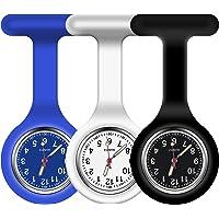 Vicloon Reloj de Bolsillo de Silicona con Broche, 3 Piezas Reloj de Enfermera de Bolsillo para Enfermera con Broche para…