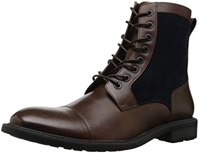 Mens Design 20655 Combat Boot, Brown/Navy, 7 M US Kenneth Cole Reaction