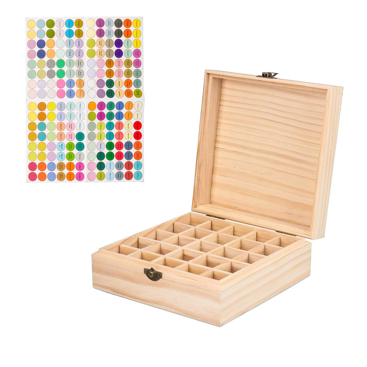 25 Slot Wooden Essential Oil Box/case, Holds 5ml /10 ml /15 ml Bottles, Perfect Essential Oil Storage/Organizer Case for Travel and Presentation Wei Xi