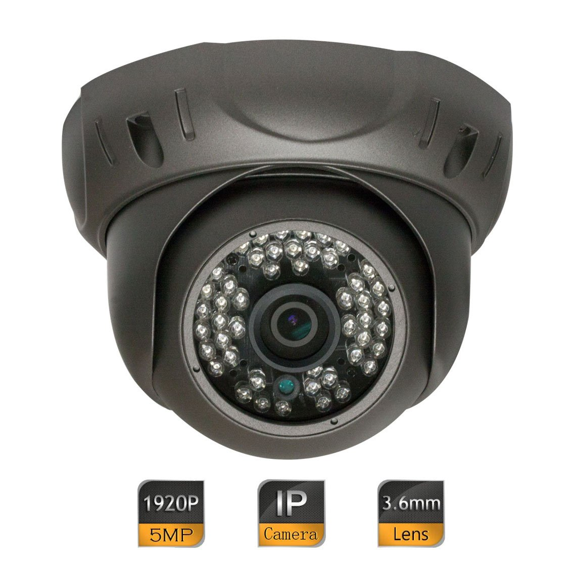 GW Security 5 Megapixel (2592 x 1920) Super HD 1920P High Resolution Network PoE Power Over Ethernet Security Dome IP Camera with 3.6mm Wide Angle Len (Grey) GW5092 IPC