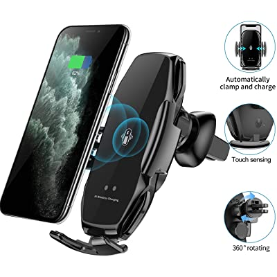 Wireless Car Charger Mount, Car Auto-Clamp Phone Holder,Car air Vent Phone Holder for iPhone 11/11 Pro,Google Pixel 4,Qi-Enable Phone Charger (Black)