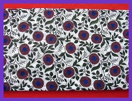 Cotton Indian Block Sanganeri Printed Fabric Craft Dress Making Running Material