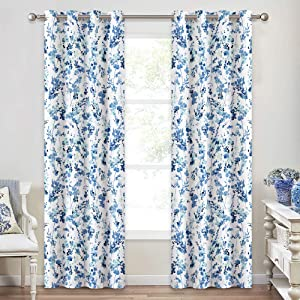 KGORGE Watercolor Curtains Room Darkening - Floral Leaf Collection Curtain Panels for Living Room, Fresh Natural Home Decor Light Block Privacy Drapes, 2 Pcs, 52 inches Width x 84 inches Length, Blue