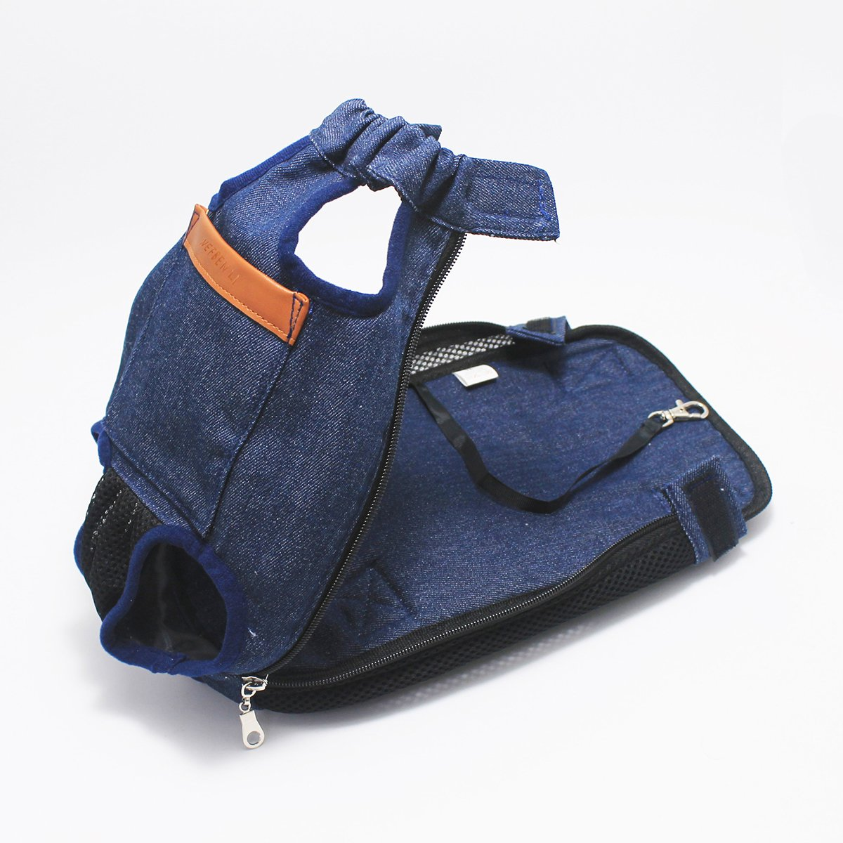 NEFBENLI Denim Blue Front Kangaroo Pouch Dog Carrier,Wide Straps Shoulder Pads,Adjustable Legs out Pet Backpack Carrier Walking,Travel,Hiking,Camping (X-Large) by NEFBENLI (Image #4)