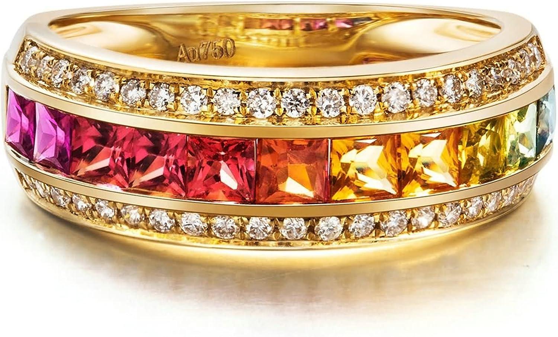 Daesar Anillo Personalizado 18K Oro Kilates Anillo Diamante Solitario Anillo Mujer Anillo Multicolor Zafiro Piedras Preciosas Anillo de Diamante Anillo Oro Rosa