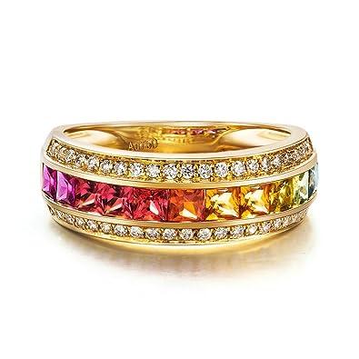 78c8825680cd AnaZoz (Tamaño Personalizado) 18K Oro Joyas Anillo Diamante Anillo Mujer  Anillo Multicolor Zafiro Piedras Preciosas Anillo de Diamante Anillo Oro  Rosa ...