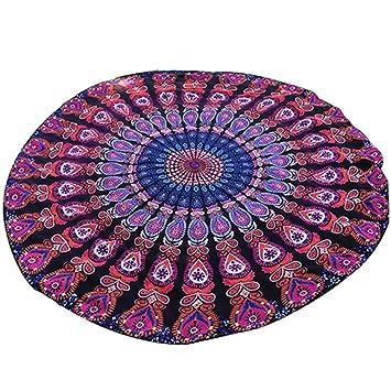 Toalla de playa mandala redonda hindú de estilo bohemio y étnico, Purple Red, Large: Amazon.es: Deportes y aire libre