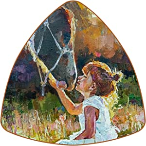 DEYYA Triangle Coasters for Drinks Little Girl and Horse On The Field Leather Mug Cup Pad Mat for Protect Furniture, Heat Resistant, Kitchen Bar Decor, Set of 6
