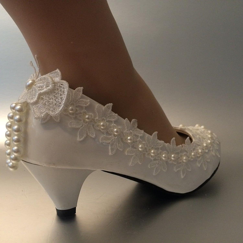 JINGXINSTORE 4 cm Absatz Spitze Elfenbein Elfenbein Elfenbein Perle Hochzeit Braut Schuhe Größe 5-12 bf7f49