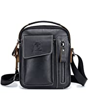 Chest Bag Men Genuine Leather Chest Bag, BULLCAPTAIN Crossbody Shoulder Bag Sling Bags Backpack Messenger Bag Daypack For Business Casual Sport Hiking Travel Black