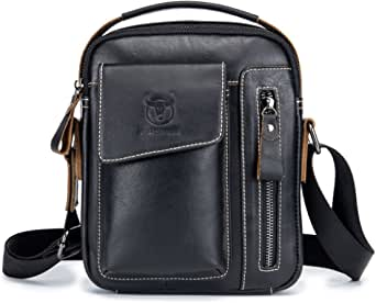 Men's Small Shoulder Bag, Genuine Leather Bag, Retro lightweight Cross Body Everyday Satchel Bag for Business Casual Sport Hiking Travel