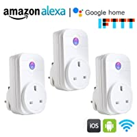 【3 Packs】WiFi Smart Plug, COOSA App Remote Control Sockets Smart Home Devices Working with Alexa Google Home and IFTTT, Support Timing, No Hub Required (White 3 Packs)