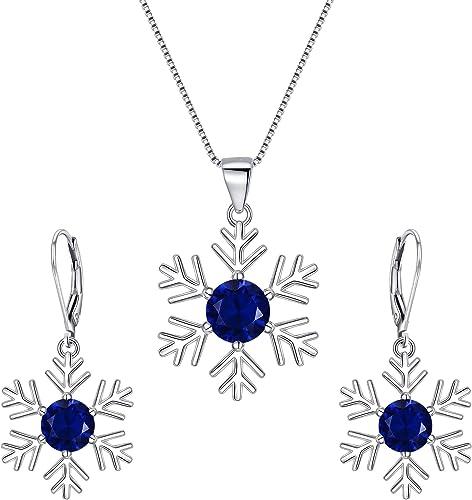 EVER FAITH Set Gioielli Donna Cristallo Austriaco Inverno Fiocco di Neve Pendente Collana Orecchini Set