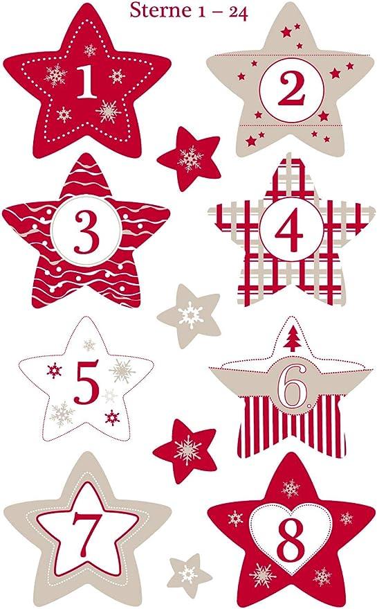 Avery Zweckform Art 52890 Adventskalender Zahlen 24 Sterne Aufkleber Weihnachten Papier Selbstklebend Sternenzahlen Adventskalender Adventszahlen Nr 1 24 Weihnachten Basteln Diy Bürobedarf Schreibwaren