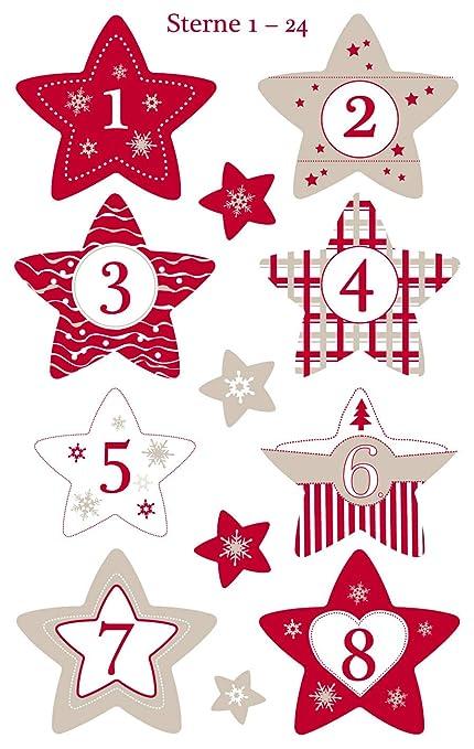 Chiffres Pour Calendrier De Lavent.1 Sachet De Stickers De Noel Chiffres Pour Calendrier De L Avent Etoiles