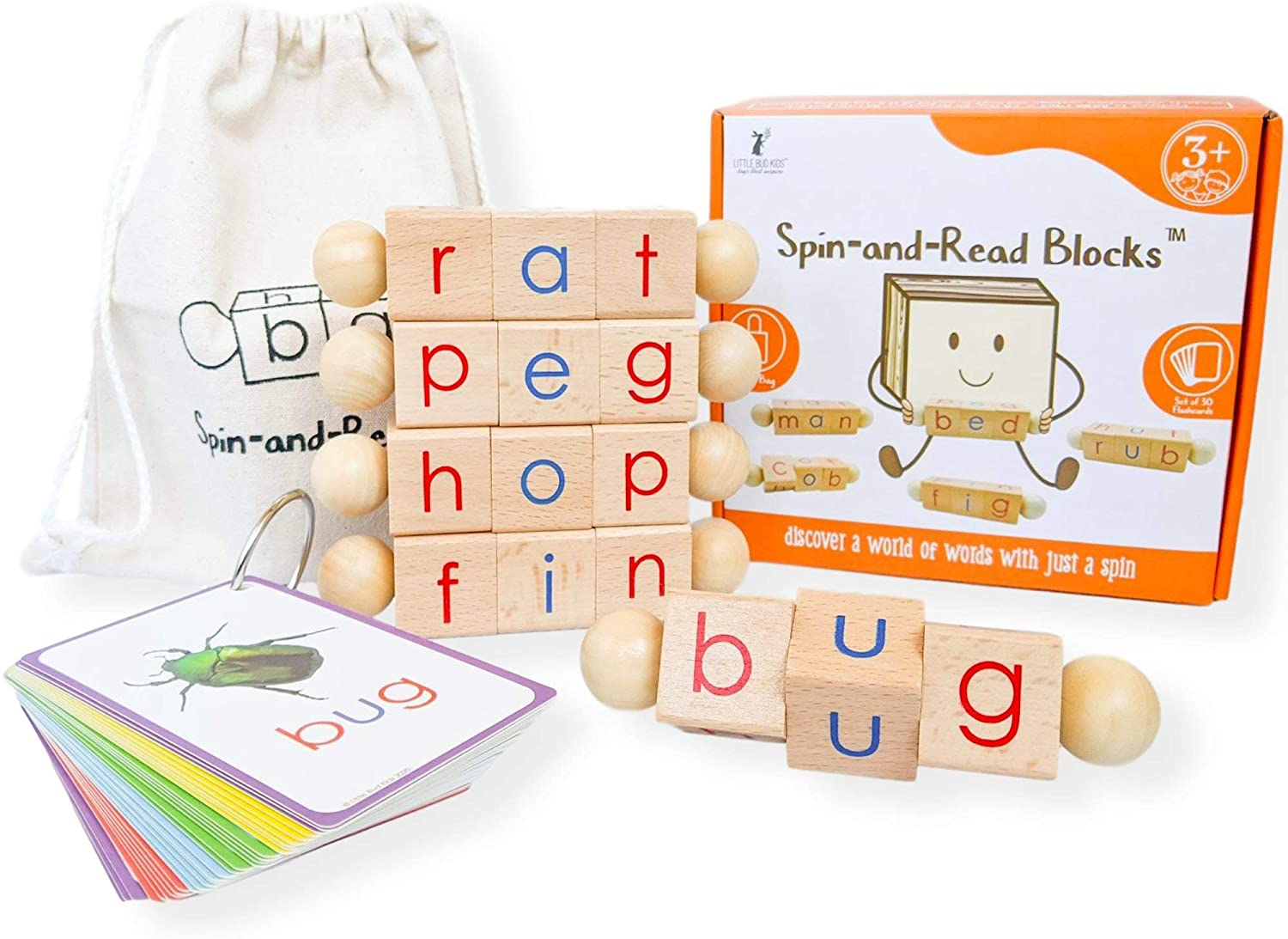 LITTLE BUD KIDS Spin-and-Read Montessori Phonetic Reading Blocks and CVC Phonics Wooden Toy Set for Beginner Readers