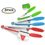 DeroTeno with Silicone Tips and Stand, Cooking, Bbq Grill, Tunmin Kitchen Tongs, Set of 3