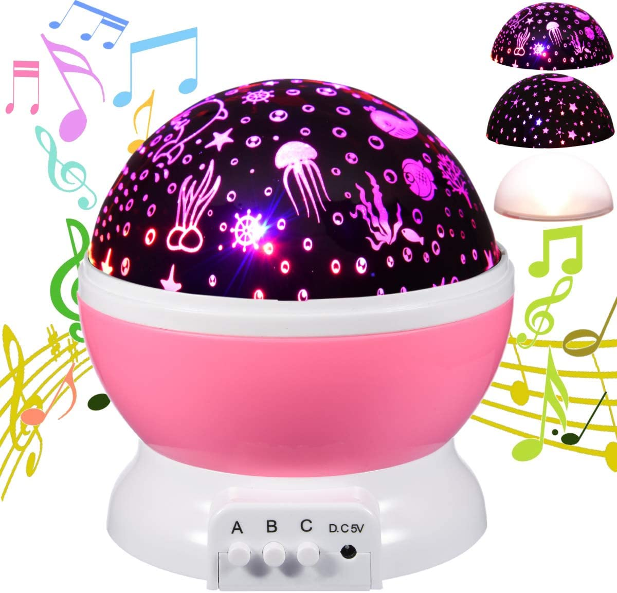 HAMPAY Baby Starry Ocean Music Night Light Projector Lullaby for Kids