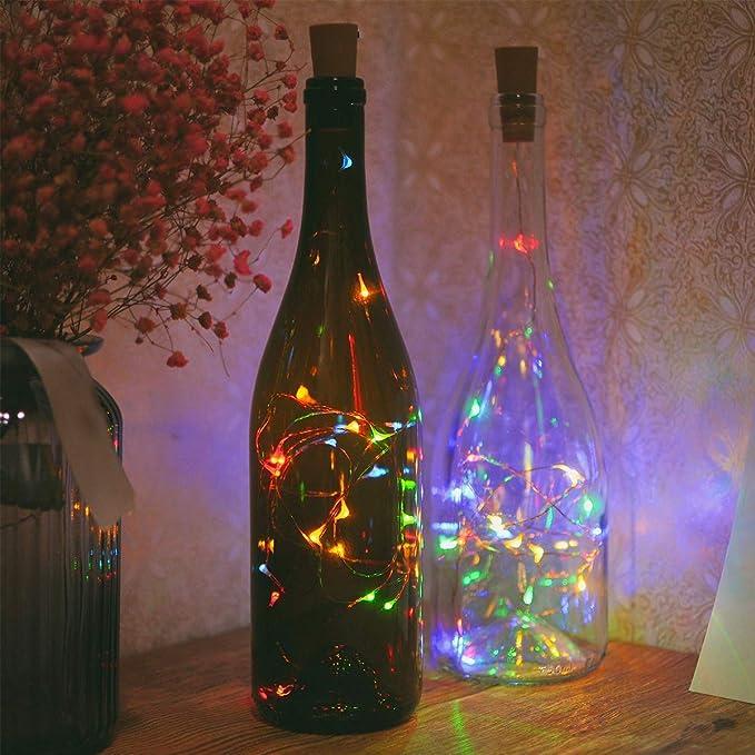 Nohunt Diwali Decoration Bottle Lights Battery Operated Powered Cork Shaped 2 Meter 20Leds (Multi Color, 1 Unit)