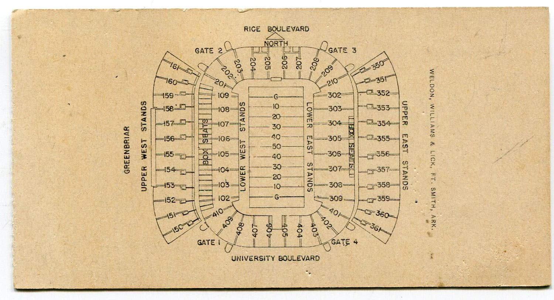 Clemson Vs. TCU Blue Bonnet Bowl December 19, 1959 Ticket