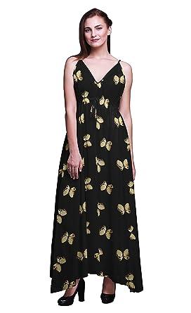 0b302701f79 Bimba Butterfly Ladies Printed Resort Maxi Drawstring Dress Spaghetti Strap Beach  Wear-X-Small