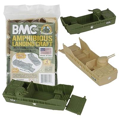 BMC Classic Marx Landing Craft - 4pc Tan vs. OD Green Plastic Army Men Vehicles: Toys & Games