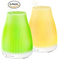 2-Pack Zookki Essential Oil Diffuser with 8 Color Changing LED Lights