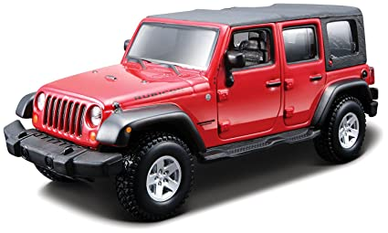 feacdaf4b89 Image Unavailable. Image not available for. Color: Jeep Wrangler Unlimited  Rubicon 4 Doors Red 1/32 by BBurago 18-45121