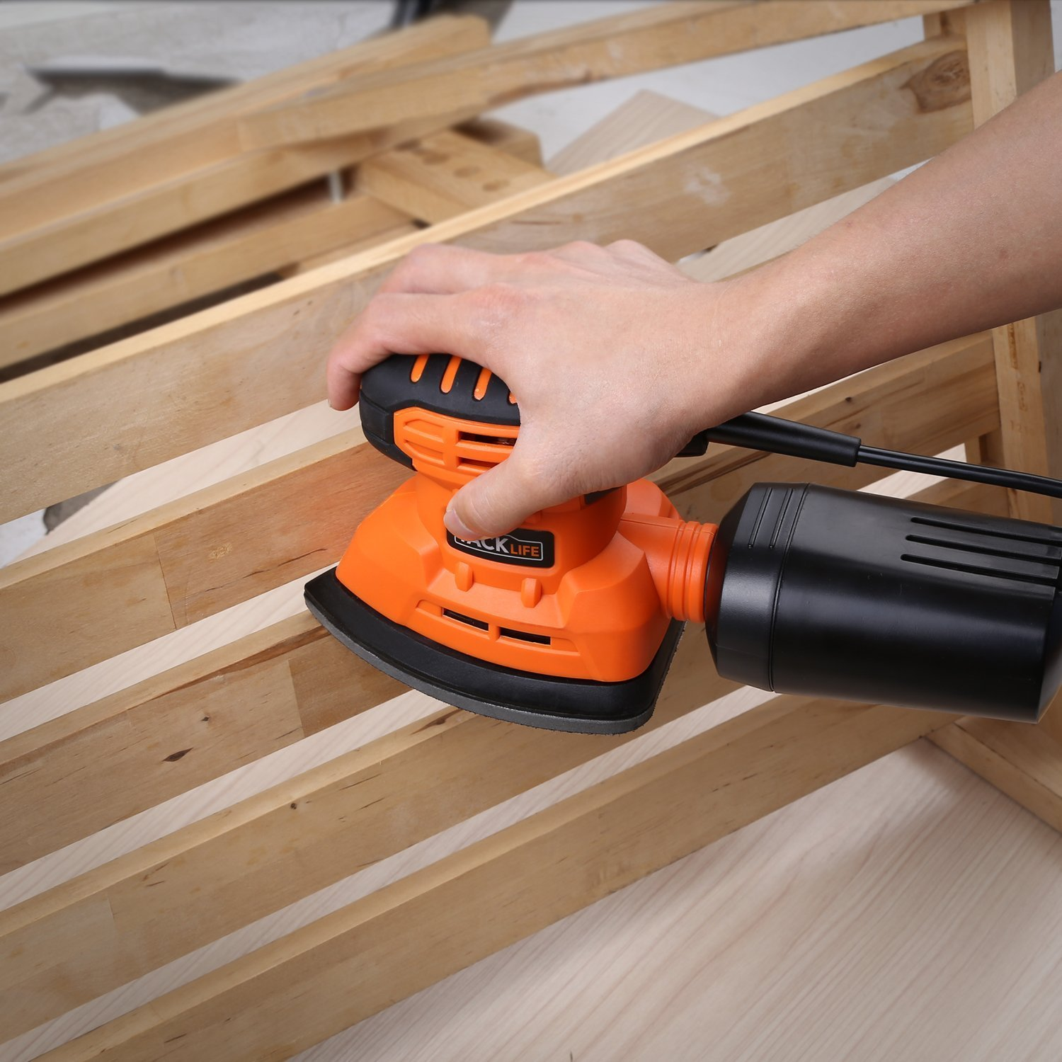 Mouse Detail Sander with 12Pcs Sanderpaper, 12000 OPM Sander with Dust Collection System For Tight Spaces Sanding in Home Decoration, DIY by TACKLIFE (Image #6)