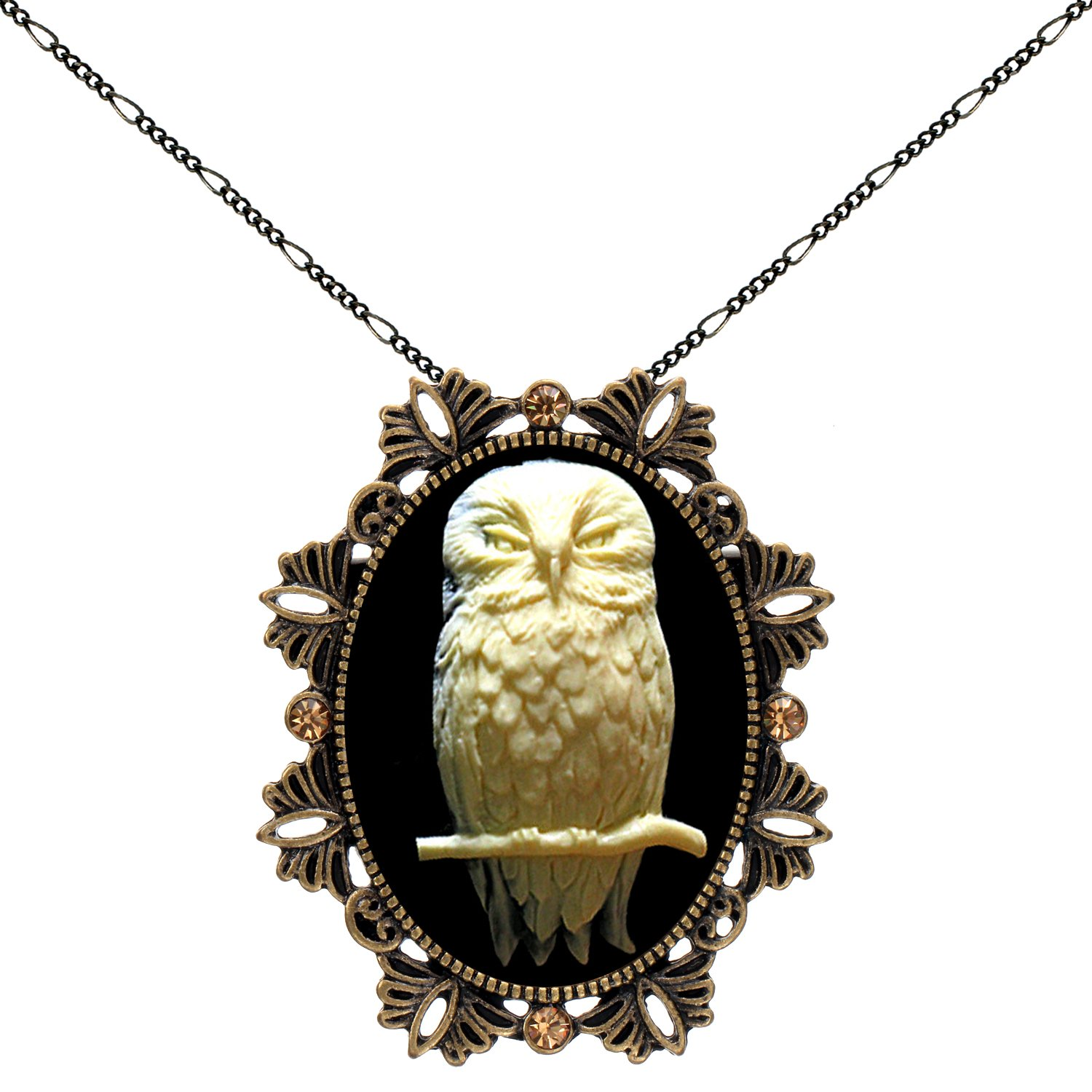 Owl Brooch Animal Necklace Two Way Functional Antique Brass Pendant 18'' 24'' Chain Pouch for Gift