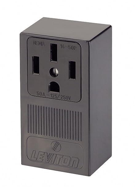 Nema 14 50r >> Leviton 55050 50 Amp 125 250 Volt Nema 14 50r 3p 4w Surface