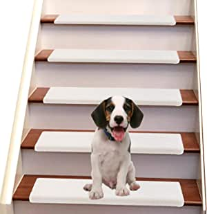 """Jorviz Bullnose Stair Treads Carpet for Wood Stairs, Set of 14, Soft Non-Slip Indoor Step Carpeting, Self-Adhesive Backing, Child and Pet Safe, Hardwood Step Protectors, 9.5"""" x 30""""x 1.2"""", Beige"""