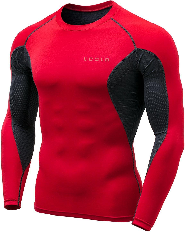 (テスラ)TESLA オールシーズン 長袖 ラウンドネック スポーツシャツ [UVカット吸汗速乾] コンプレッションウェア パワーストレッチ アンダーウェア R11 / MUD01 / MUD11 B0791D2V87 Large|MUD71-RCH MUD71-RCH Large