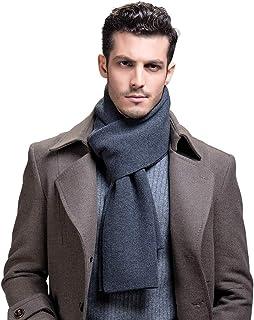 RIONA Men's 100% Australian Merino Wool Scarf Knitted Soft Warm Neckwear with Gift Box (Black) RIW9132Black
